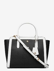 Crosshatch Leather Medium Brooke Satchel - handväskor - black/snow white