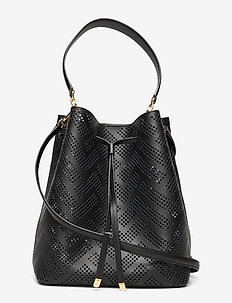 Perforated Leather Debby Drawstring Bag - bucket bags - black