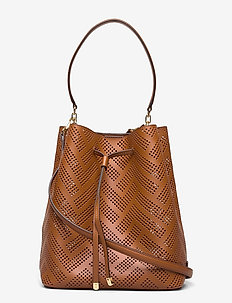 Perforated Leather Debby Drawstring Bag - bucket-laukut - lauren tan