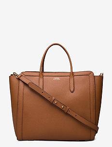 Leather Medium Tyler Tote - shopping - lauren tan