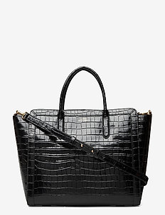 Metallic Leather Medium Tyler Tote - shoppere - black