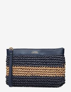 Crochet Large Wristlet - NAVY/NATURAL HORI