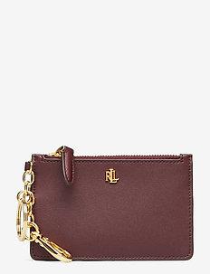 Leather Zip Card Case - BORDEAUX