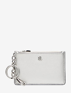 Leather Zip Card Case - BRIGHT SILVER