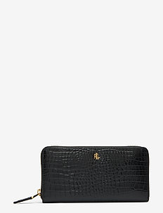 Leather Continental Zip Wallet - BLACK