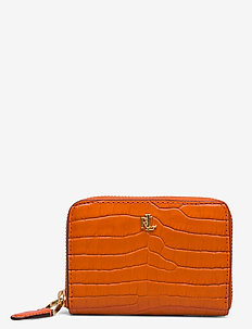 Leather Small Zip Wallet - lompakot - sailing orange