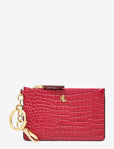 Leather Zip Card Case - RED