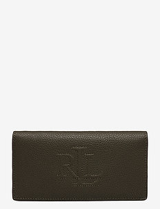 Slim Pebbled Leather Wallet - beurzen - deep olive