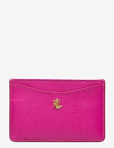 Slim Leather Card Case - DEEP FUCHSIA