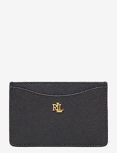 Crosshatch Leather Card Case - portemonnees - black