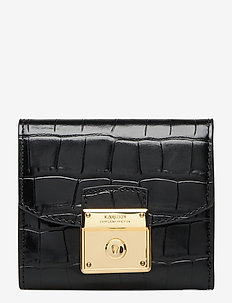 Leather Compact Wallet - porte-monnaies - black