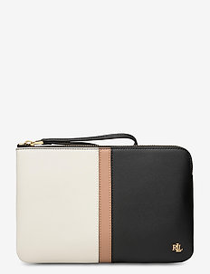 Color-Blocked Leather Pouch - kuvertväskor - black - nude/vani