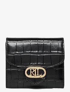 Logo Compact Leather Wallet - plånböcker - black