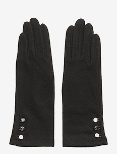 LEATHER-3 BUTTON TOUCH GLOVE - BLACK