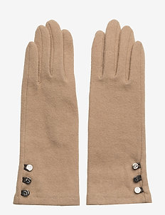 LEATHER-3 BUTTON TOUCH GLOVE - CAMEL