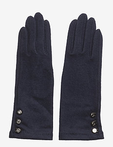 LEATHER-3 BUTTON TOUCH GLOVE - NAVY