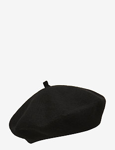 WOOL-VELVET TRIM BERET - BLACK