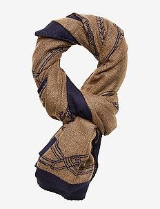 Equestrian Wrap Scarf - NAVY/CAMEL