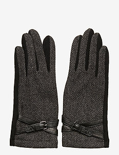 WOOL BLEND-CROSS BELT GLOVE - BLACK