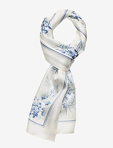 Lira Oblong Silk Twill Scarf - CREAM/TOILE BLUE