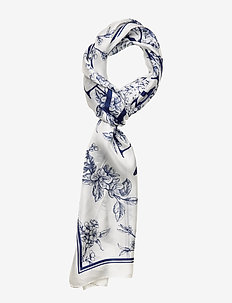 Anais Silk Oblong Scarf - CREAM/NAVY