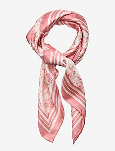 Alexa Floral Silk Scarf - cream/pink