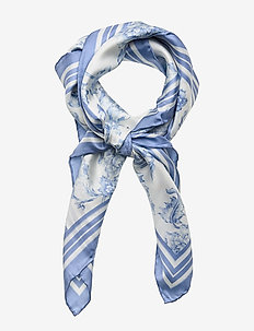 Alexa Floral Silk Scarf - CREAM/TOILE BLUE