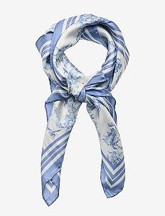 Alexa Floral Silk Scarf - cream/toile blue