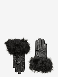 SHEEPSKIN LEATHER-LTH GLOVE FX FUR - gloves - black