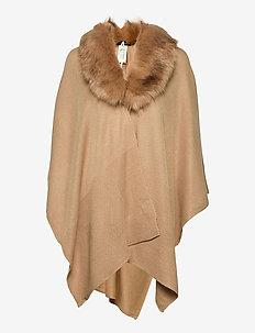 Faux Fur–Collar Ruana - ponchos & capes - classic camel