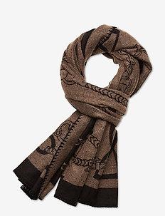 Heritage Logo Wrap - scarves - black/camel