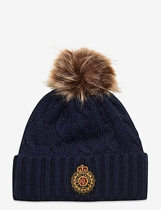 Cable-Knit Wool-Blend Hat - pipot - navy