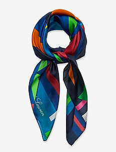 Caren Square Silk Twill Scarf - tørklæder - holiday navy