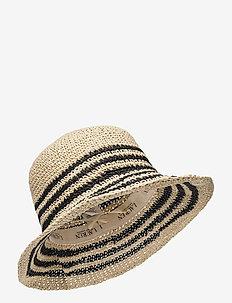 Striped Crochet Bucket Hat - stråhatte - natural/black