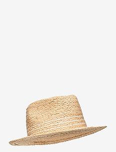 Striped Raffia Fedora - huer & kasketter - natural/white