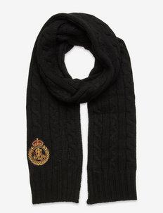 Cable-Knit Crest-Patch Scarf - szaliki zimowe - black