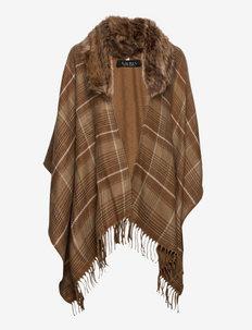 Plaid Faux Fur-Trim Ruana - ponchos en capes - camel plaid
