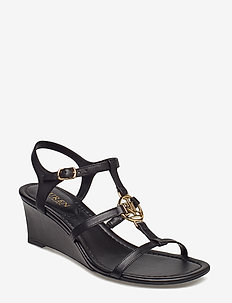 Elina Leather Wedge Sandal - BLACK