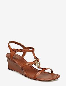 Elina Leather Wedge Sandal - DEEP SADDLE TAN