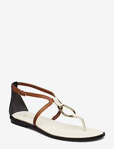 Nanine Leather Sandal - VANILLA/DEEP SADD