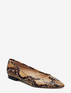 Halena II Snakeskin Flat - HONEY/BLACK