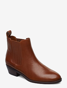 Erica Leather Bootie - DEEP SADDLE TAN