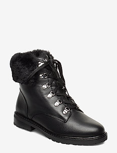 LANESCOT-BOOTS-WATERPROOF - flat ankle boots - black/black
