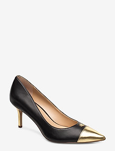 Lanette Leather Toe-Cap Pump - BLACK/GOLD RUSH