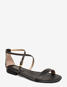 Emery Leather Sandal - flat sandals - black