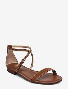 Emery Leather Sandal - flate sandaler - deep saddle tan