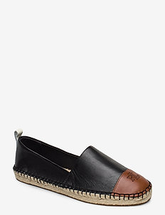 Dorian Leather Espadrille - BLACK/DEEP SADDLE