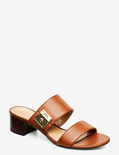 Windham Leather Sandal - heeled sandals - deep saddle tan