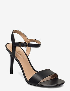 Gwen Leather Sandal - heeled sandals - black