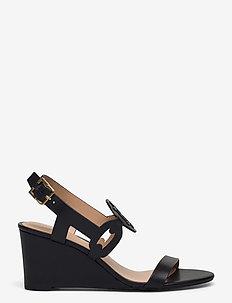 Amilea Burnished Leather Wedge - wedges - black